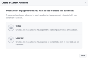 Facebook Custom Audience - Video and Lead Ads