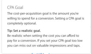 apple search ads target CPA