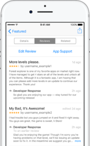 reply to iOS app store user reviews