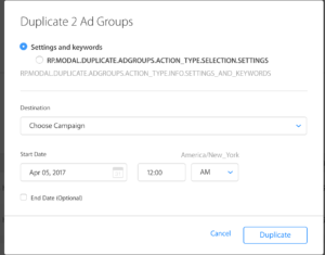 Apple Search Ads Duplicate ad groups