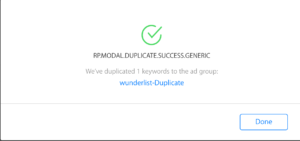 Apple Search Ads keyword Duplicate success