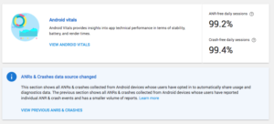 google play console android vitals