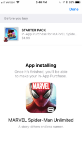 spider man promoted IAP